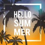 Hallo Sommerbeschriftung PALME-STEIGUNGS-SONNENUNTERGANG Tropischer Paradieshintergrund Stockfotografie
