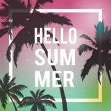 Hallo Sommerbeschriftung PALME-STEIGUNGS-SONNENUNTERGANG Tropischer Paradieshintergrund Lizenzfreies Stockbild
