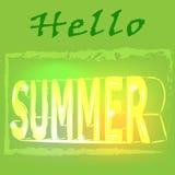 Hallo Sommerhintergrund mit den Buchstaben in der Art 3d, Vektor, Illustration Stockbilder
