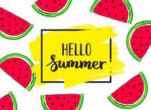Hallo Sommerkarte mit Wassermelone T Stockfotos