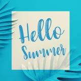 Hallo Sommerkonzepte mit Text auf tropischen Pastellblättern auf Farbhintergrund Dekorationsdesign lizenzfreie stockfotos