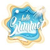 Hallo Sommerpapierkunst Lizenzfreies Stockfoto
