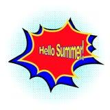 Hallo Sommerphrase Pop-Arten-Art Karikaturcomic-buch-Hintergrund Plakatfahne in der hellen Farbe mit flashe und lizenzfreie abbildung