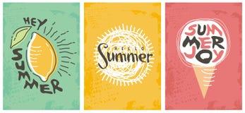 Hallo Sommersaisonfahnensammlung Stockbild