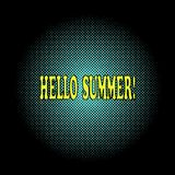 Hallo Sommersaisongruß in der Pop-Arten-Art Gelber beschriftender Text des Halbton-, schwarzen Hintergrundes Auch im corel abgeho vektor abbildung