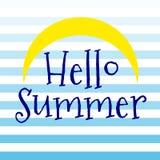 Hallo Sommersymbol mit Vektor der Sonne und der blauen Streifen stock abbildung