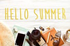 Hallo Sommertext, Reisewanderlustkonzept, Raum für Text, Florida Lizenzfreies Stockfoto