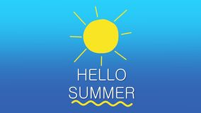 Hallo Sommertext und -sonne belebt auf blauem Steigungshintergrund Gl?cklicher Mann genie?t an den Feiertagen in dem Meer 4K stock abbildung
