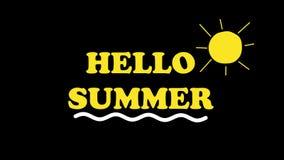 Hallo Sommertext und -sonne belebt auf Hintergrund des Alphakanals Reisethemakonzept 4K lizenzfreie abbildung