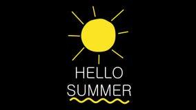 Hallo Sommertext und -sonne belebt auf Hintergrund des Alphakanals Reisethemakonzept 4K stock abbildung