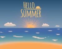 Hallo Sommervektorhintergrund Sommerferien-Strandparadies Lizenzfreies Stockfoto
