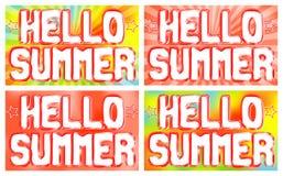 Hallo Sommerwörter auf dem Plakat Heller Hintergrund mit dem Ausstrahlen von Strahlen Lizenzfreies Stockfoto