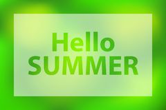 Hallo Sommerw?rter auf einem hellgr?nen Hintergrund Plakat mit wei?em lichtdurchl?ssigem Rahmen stock abbildung