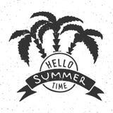 Hallo Sommerzeit - typografische Fahne Vektorillustration mit Palmen und Band Hand gezeichneter Buchstabe Blumenrasen mit Marienk Stockfotografie
