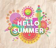 Hallo Sommerzitat-Plakatdesign Lizenzfreie Stockfotografie