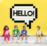 Hallo Sprache-Blasen-Technologie-Grafik-Konzept Stockfoto
