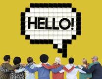 Hallo Sprache-Blasen-Technologie-Grafik-Konzept Stockbild