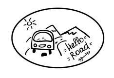 Hallo Stra?e Das Emblem mit dem Auto, den Bergen, der Sonne und dem Aufschrifthandabgehobenen betrag Aufkleberreiselebensstil vektor abbildung