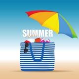 Hallo summer on color bag with beach accesoir illustration. Hallo summer on color bag with beach accesoir design illustration Stock Photography
