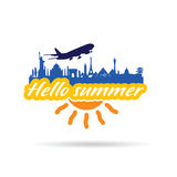 Hallo summer with historic monument illustration. In colorful Stock Photography