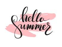 Hallo summer lettering. Vector illustration. Hallo summer lettering on brushstroke. Vector illustration Stock Photography