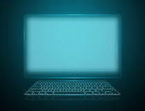 Hallo technologiecomputer met toetsenbord Stock Fotografie