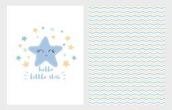 Hallo Vektor-Illustrations-Satz des kleinen Sterns Hand gezeichnetes Design Lächelnder blauer Stern neugeborene Karte für Jungen lizenzfreie abbildung
