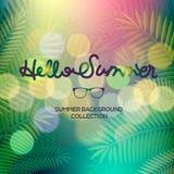 Hallo verwischte die Sommerfahne, Text beschriftend, Palmenansicht Beschaffenheit Würzen Sie Berufung, Wochenende, Feiertag, mode lizenzfreie abbildung