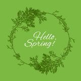 Hallo verzweigt sich Frühlingsgreen card-Design mit Text im Kreisrahmen vom Dill Vektor Lizenzfreie Abbildung