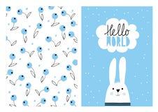 Hallo Welt, weißes nettes Kaninchen Hand gezeichneter Babyparty-Vektor-Illustrations-Satz vektor abbildung