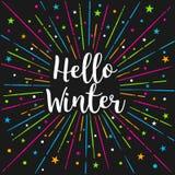 Hallo Winter-Text-Farbe-SunburstVector-Beschriftungs-Karte Stockfotos