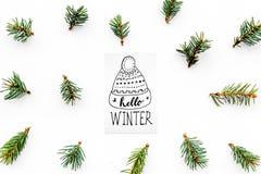 Hallo Winterhandbeschriftung mit Hutikone Wintermuster mit Fichtenzweigen auf Draufsicht des weißen Hintergrundes Stockbilder