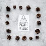Hallo Winterhandbeschriftung mit Hutikone Wintermuster mit pinecones auf Draufsicht des grauen Hintergrundes Stockfotos