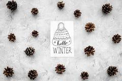 Hallo Winterhandbeschriftung mit Hutikone Wintermuster mit pinecones auf Draufsicht des grauen Hintergrundes Stockfoto