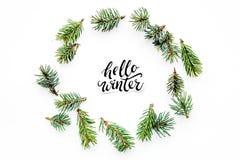 Hallo Winterhandbeschriftung Wintermuster mit Fichtenzweigen auf weißem Draufsichtmuster des Hintergrundes Stockbild