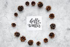 Hallo Winterhandbeschriftung Wintermuster mit pinecones auf Draufsicht des grauen Hintergrundes Lizenzfreies Stockfoto