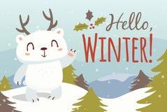 Hallo Winterkarikaturillustration Lizenzfreies Stockfoto