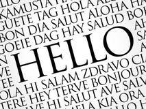 Hallo Wortwolke in den verschiedenen Sprachen Stockfotografie