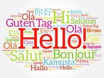 Hallo Wortwolkencollage in den verschiedenen Sprachen Stockbild