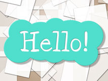 Hallo Zeichen-Shows, wie Sie und Grüße sind Stockfoto