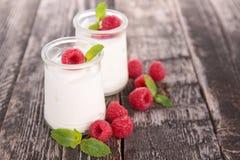 Hallon och yoghurt royaltyfri bild