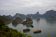 Hallong bay with boat. In cloudy season Stock Image