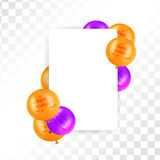 Hallooween frame with balloons on transparent background. Royalty Free Stock Photos