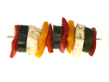 Halloumi Cheese and Pepper Kebabs Stock Photos