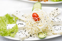 Halloumi cheese plate served with sesame & veggies Stock Photos