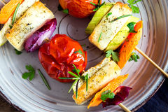 Halloumi cheese and vegetables grilled skewers Stock Photography