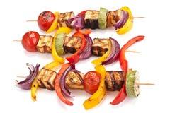 Halloumi en groentenkebabs Royalty-vrije Stock Fotografie