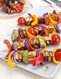 Halloumi et chiches-kebabs végétaux sur une table Photographie stock libre de droits