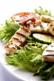 Halloumi grillé avec de la salade images libres de droits