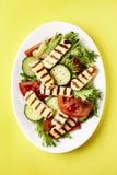 Halloumi grillé avec de la salade image stock